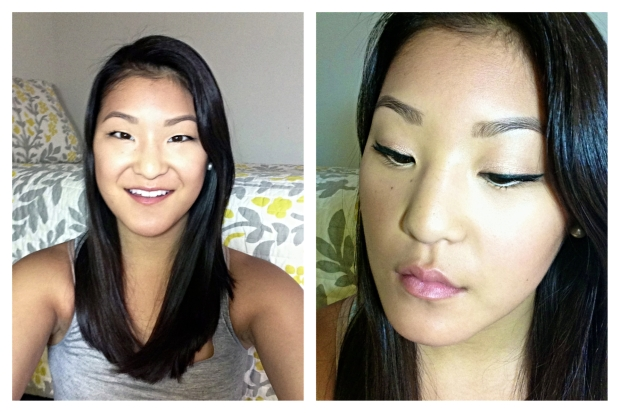 Bulletproof Beige all over the lid, Black as liner, Brown along bottom lashline, Nude on waterline